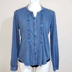 Lucky Brand Boho Shirt | Blue/Rust | Size Large